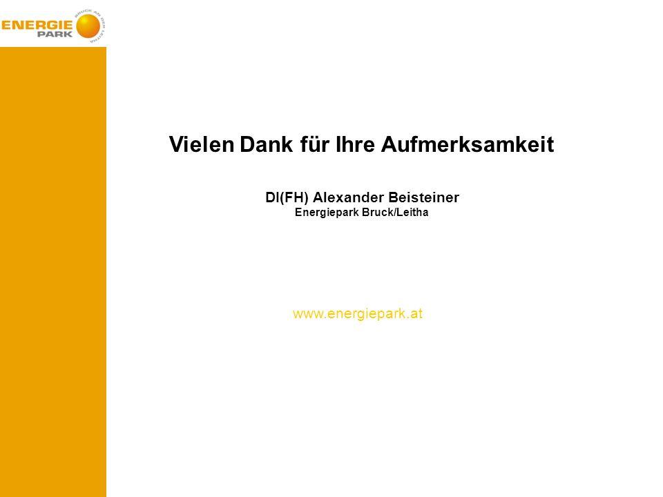 Vielen Dank für Ihre Aufmerksamkeit DI(FH) Alexander Beisteiner Energiepark Bruck/Leitha www.energiepark.at
