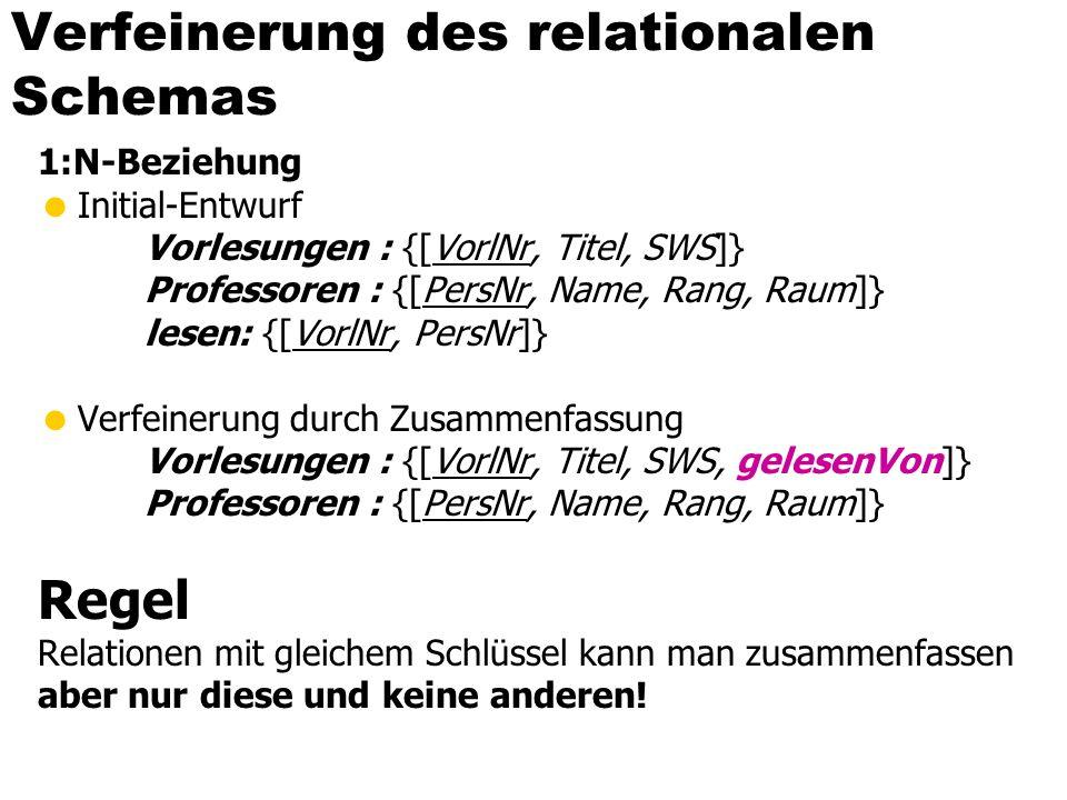 Verfeinerung des relationalen Schemas 1:N-Beziehung  Initial-Entwurf Vorlesungen : {[VorlNr, Titel, SWS]} Professoren : {[PersNr, Name, Rang, Raum]} lesen: {[VorlNr, PersNr]}  Verfeinerung durch Zusammenfassung Vorlesungen : {[VorlNr, Titel, SWS, gelesenVon]} Professoren : {[PersNr, Name, Rang, Raum]} Regel Relationen mit gleichem Schlüssel kann man zusammenfassen aber nur diese und keine anderen!