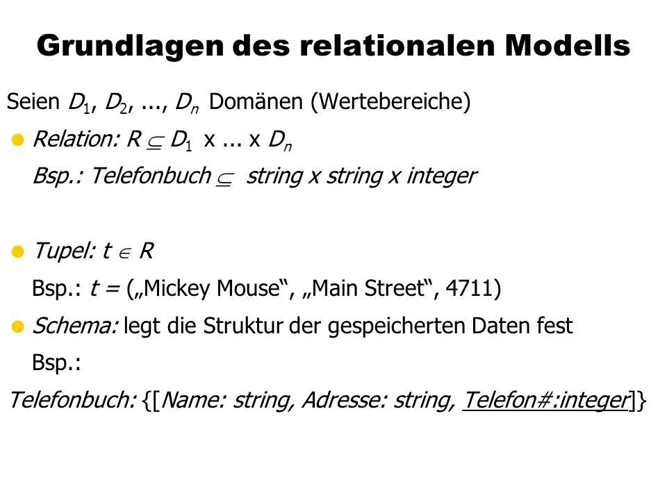 Grundlagen des relationalen Modells Seien D 1, D 2,..., D n Domänen (Wertebereiche)  Relation: R  D 1 x...