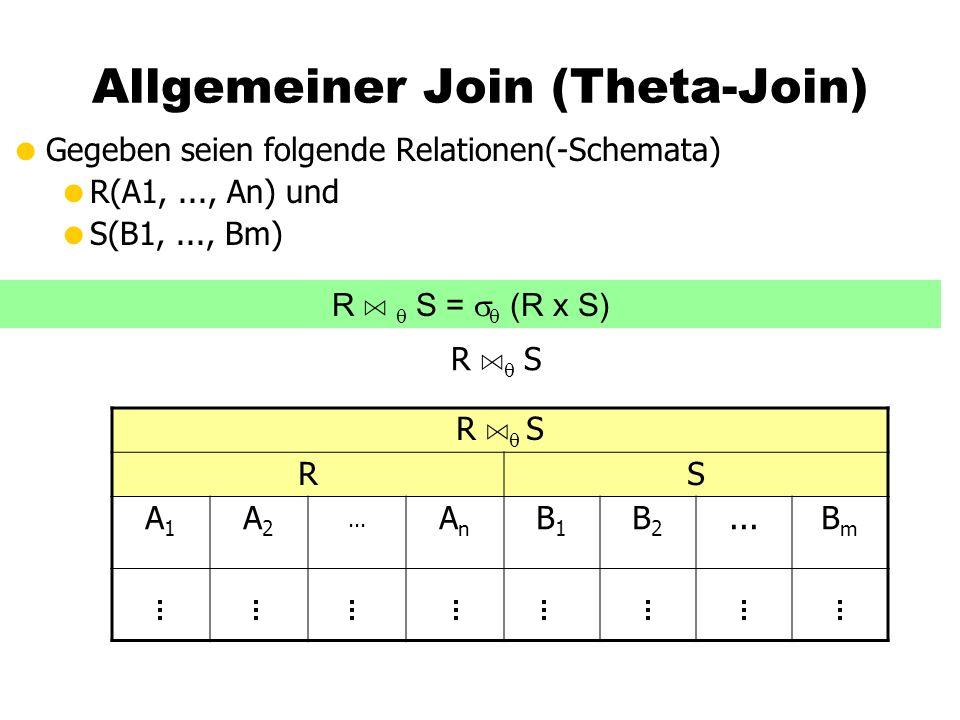 Allgemeiner Join (Theta-Join)  Gegeben seien folgende Relationen(-Schemata)  R(A1,..., An) und  S(B1,..., Bm) R A  S RS A1A1 A2A2...