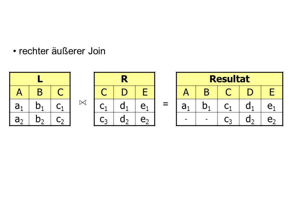 L ABC a1a1 b1b1 c1c1 a2a2 b2b2 c2c2 D = rechter äußerer Join R CDE c1c1 d1d1 e1e1 c3c3 d2d2 e2e2 Resultat ABCDE a1a1 b1b1 c1c1 d1d1 e1e1 -- c3c3 d2d2 e2e2