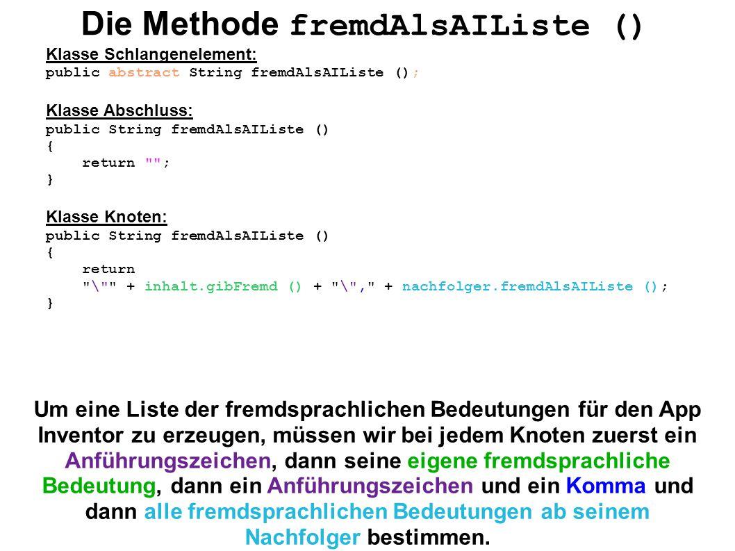 Die Methode fremdAlsAIListe () Klasse Schlangenelement: public abstract String fremdAlsAIListe (); Klasse Abschluss: public String fremdAlsAIListe ()