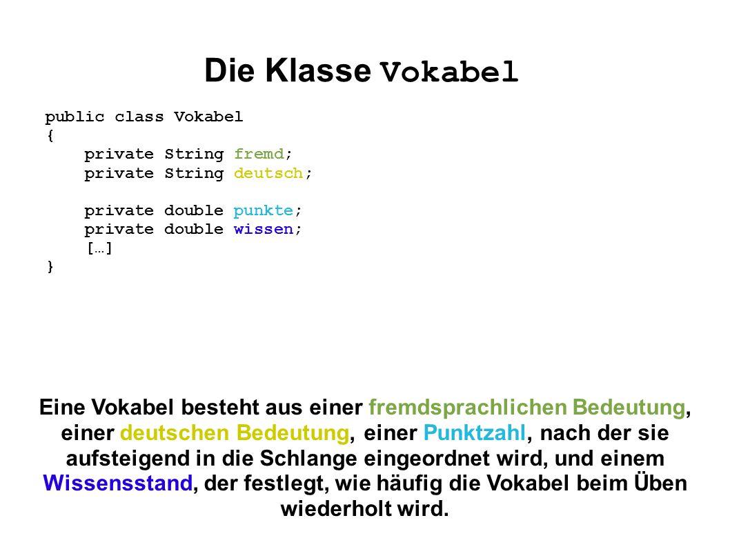 Die Klasse Vokabel Eine Vokabel besteht aus einer fremdsprachlichen Bedeutung, einer deutschen Bedeutung, einer Punktzahl, nach der sie aufsteigend in
