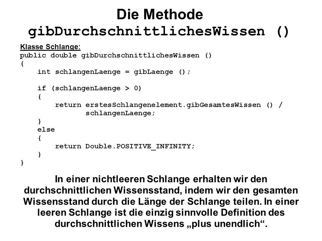 Die Methode gibDurchschnittlichesWissen () Klasse Schlange: public double gibDurchschnittlichesWissen () { int schlangenLaenge = gibLaenge (); if (sch