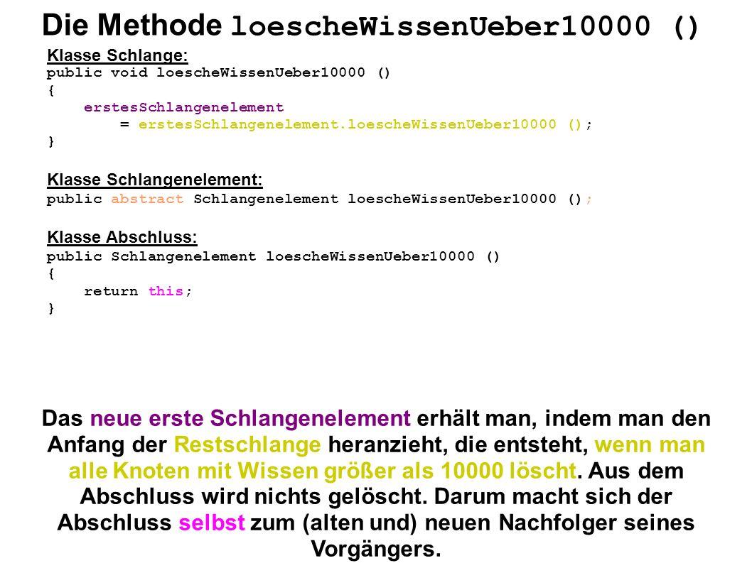 Die Methode loescheWissenUeber10000 () Klasse Schlange: public void loescheWissenUeber10000 () { erstesSchlangenelement = erstesSchlangenelement.loesc