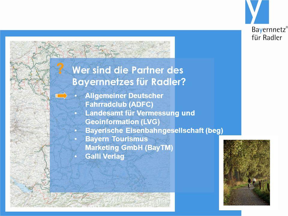 Allgemeiner Deutscher Fahrradclub (ADFC) Landesamt für Vermessung und Geoinformation (LVG) Bayerische Eisenbahngesellschaft (beg) Bayern Tourismus Marketing GmbH (BayTM) Galli Verlag Wer sind die Partner des Bayernnetzes für Radler.