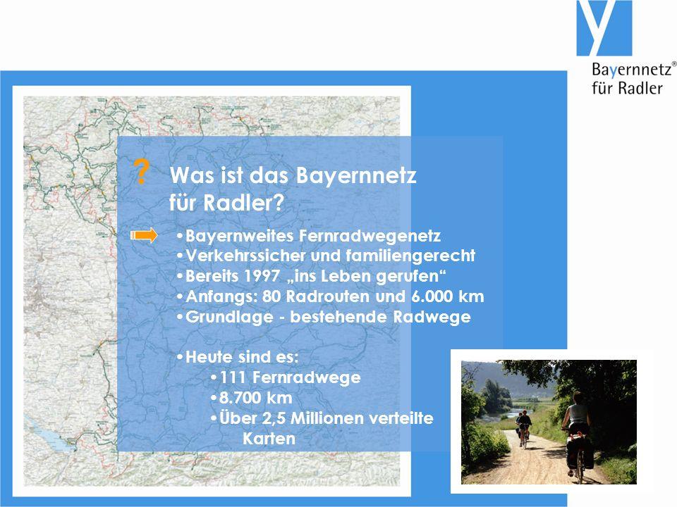 """Bayernweites Fernradwegenetz Verkehrssicher und familiengerecht Bereits 1997 """"ins Leben gerufen Anfangs: 80 Radrouten und 6.000 km Grundlage - bestehende Radwege Heute sind es: 111 Fernradwege 8.700 km Über 2,5 Millionen verteilte Karten Was ist das Bayernnetz für Radler."""