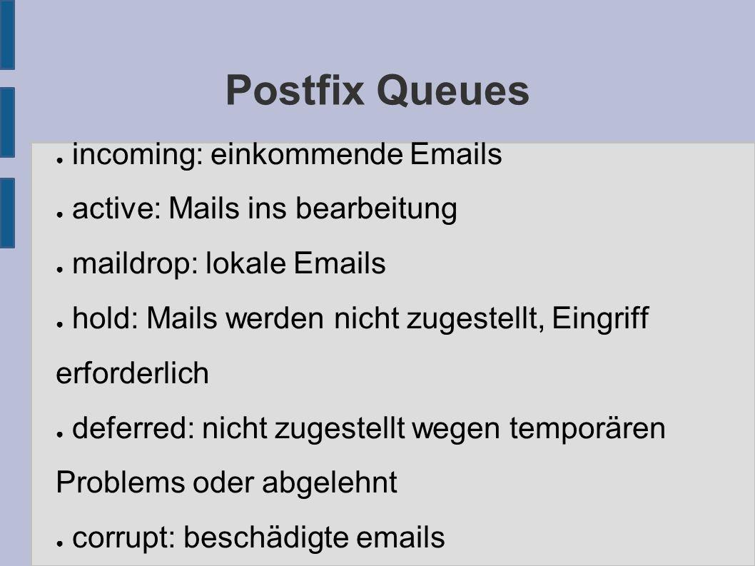 Postfix Queues ● incoming: einkommende Emails ● active: Mails ins bearbeitung ● maildrop: lokale Emails ● hold: Mails werden nicht zugestellt, Eingriff erforderlich ● deferred: nicht zugestellt wegen temporären Problems oder abgelehnt ● corrupt: beschädigte emails
