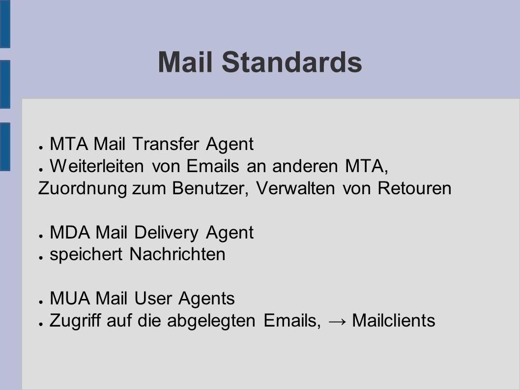 Mail Standards ● MTA Mail Transfer Agent ● Weiterleiten von Emails an anderen MTA, Zuordnung zum Benutzer, Verwalten von Retouren ● MDA Mail Delivery Agent ● speichert Nachrichten ● MUA Mail User Agents ● Zugriff auf die abgelegten Emails, → Mailclients