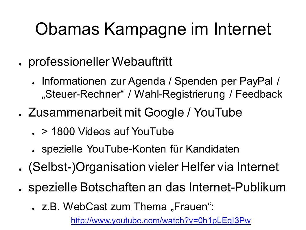 """Obamas Kampagne im Internet ● professioneller Webauftritt ● Informationen zur Agenda / Spenden per PayPal / """"Steuer-Rechner"""" / Wahl-Registrierung / Fe"""