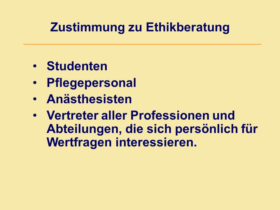 Zustimmung zu Ethikberatung Studenten Pflegepersonal Anästhesisten Vertreter aller Professionen und Abteilungen, die sich persönlich für Wertfragen interessieren.