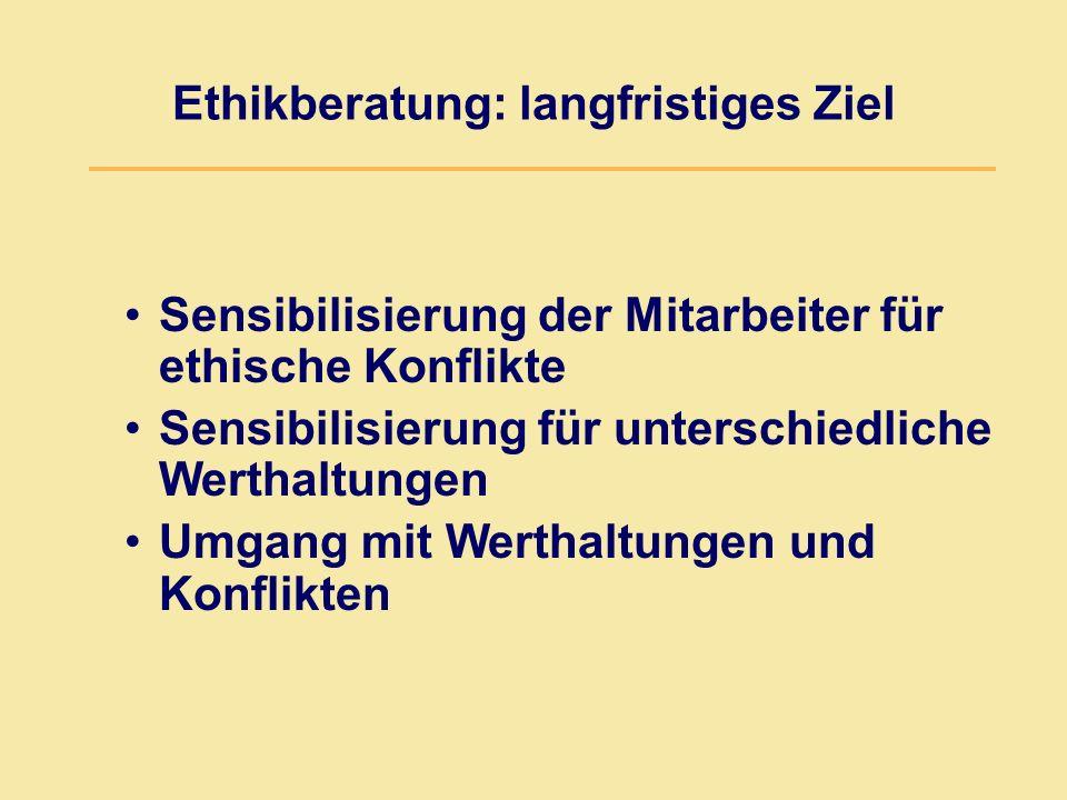 Ethikberatung: langfristiges Ziel Sensibilisierung der Mitarbeiter für ethische Konflikte Sensibilisierung für unterschiedliche Werthaltungen Umgang mit Werthaltungen und Konflikten