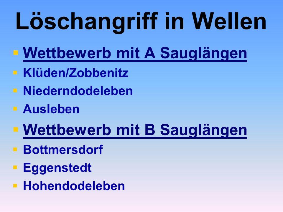 Löschangriff in Wellen   Wettbewerb mit A Sauglängen   Klüden/Zobbenitz   Niederndodeleben   Ausleben   Wettbewerb mit B Sauglängen   Bottmersdorf   Eggenstedt   Hohendodeleben