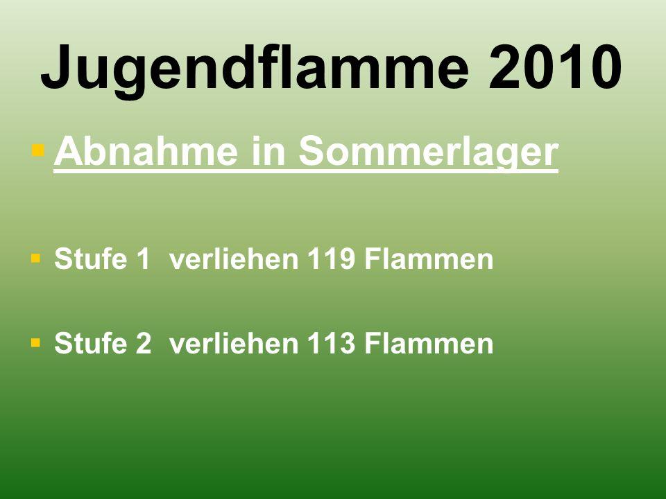 Jugendflamme 2010   Abnahme in Sommerlager   Stufe 1 verliehen 119 Flammen   Stufe 2 verliehen 113 Flammen