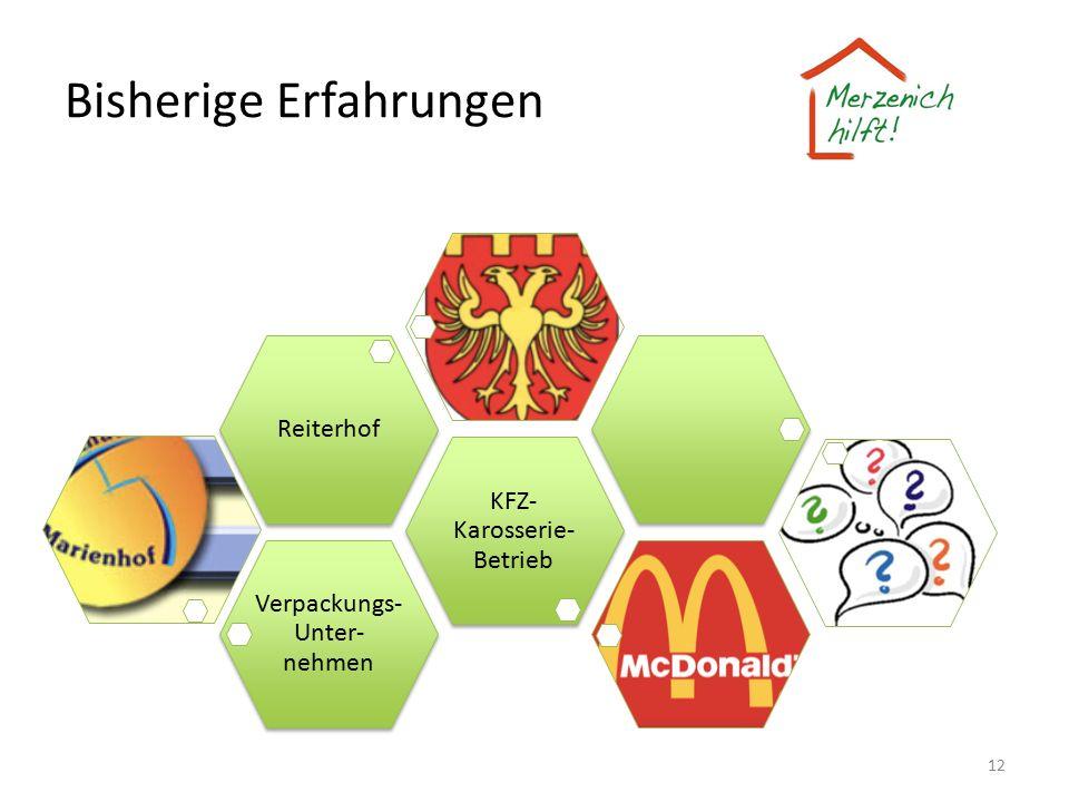 Bisherige Erfahrungen 12 Verpackungs- Unter- nehmen KFZ- Karosserie- Betrieb Reiterhof