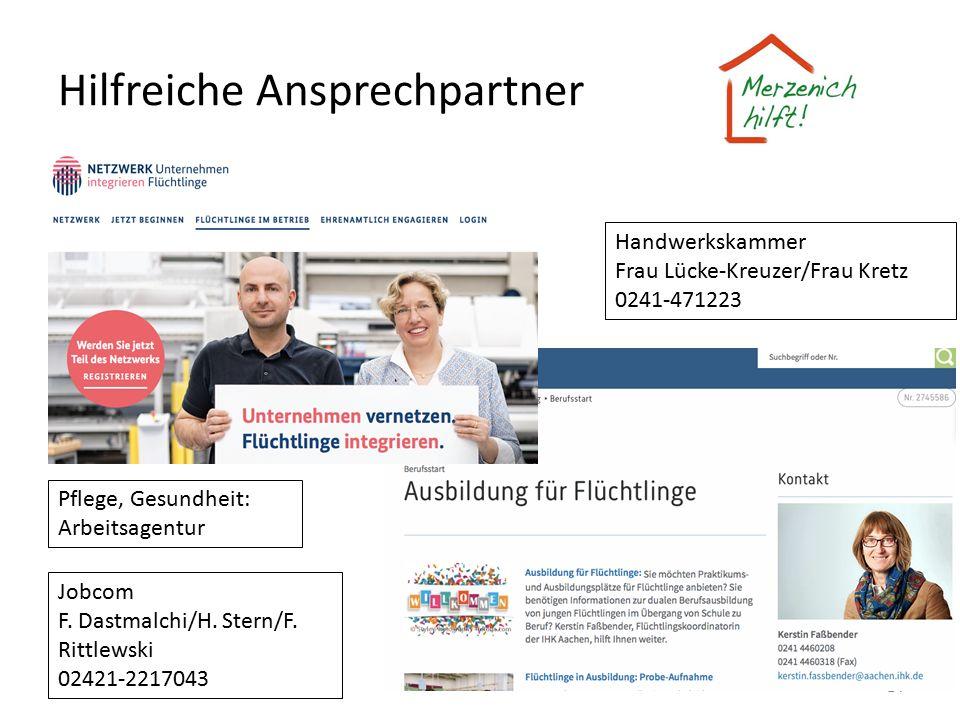 Hilfreiche Ansprechpartner 14 Handwerkskammer Frau Lücke-Kreuzer/Frau Kretz 0241-471223 Pflege, Gesundheit: Arbeitsagentur Jobcom F. Dastmalchi/H. Ste