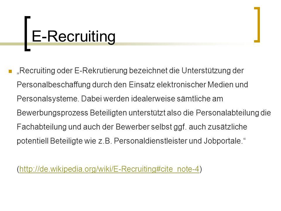 """E-Recruiting """"Recruiting oder E-Rekrutierung bezeichnet die Unterstützung der Personalbeschaffung durch den Einsatz elektronischer Medien und Personalsysteme."""
