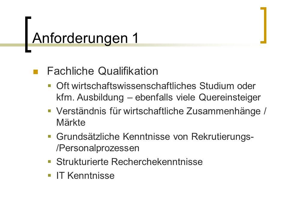 Anforderungen 1 Fachliche Qualifikation  Oft wirtschaftswissenschaftliches Studium oder kfm.