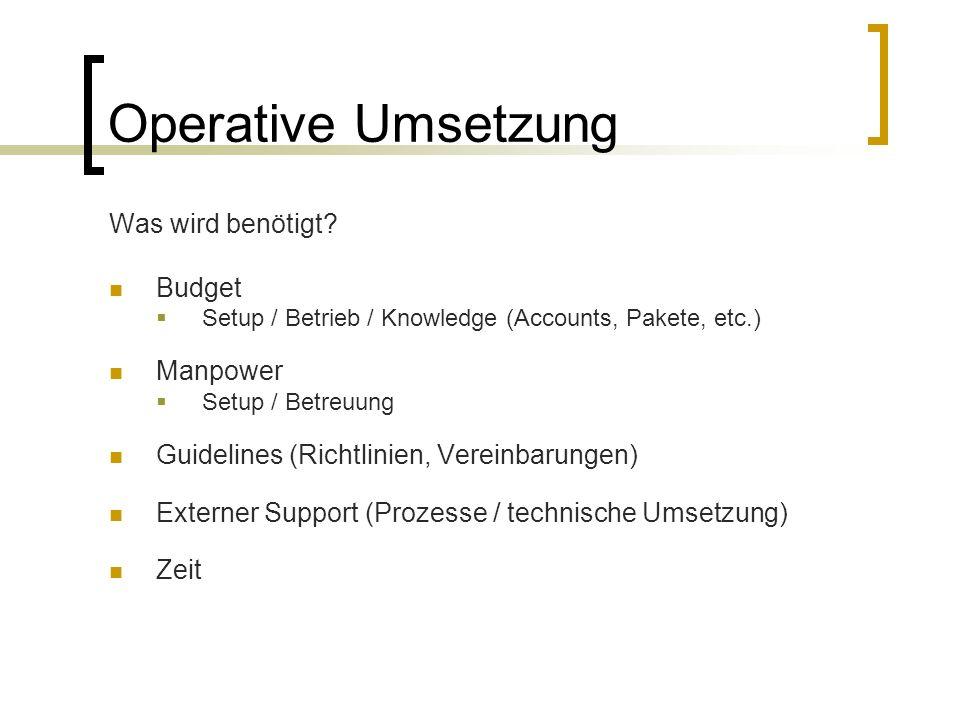 Operative Umsetzung Was wird benötigt? Budget  Setup / Betrieb / Knowledge (Accounts, Pakete, etc.) Manpower  Setup / Betreuung Guidelines (Richtlin