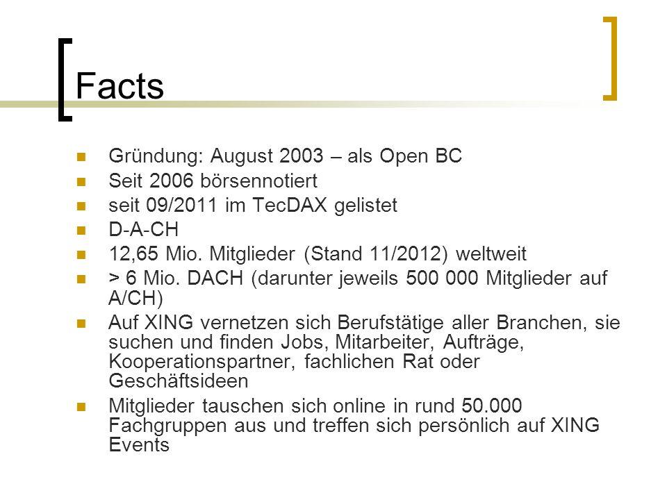 Facts Gründung: August 2003 – als Open BC Seit 2006 börsennotiert seit 09/2011 im TecDAX gelistet D-A-CH 12,65 Mio. Mitglieder (Stand 11/2012) weltwei