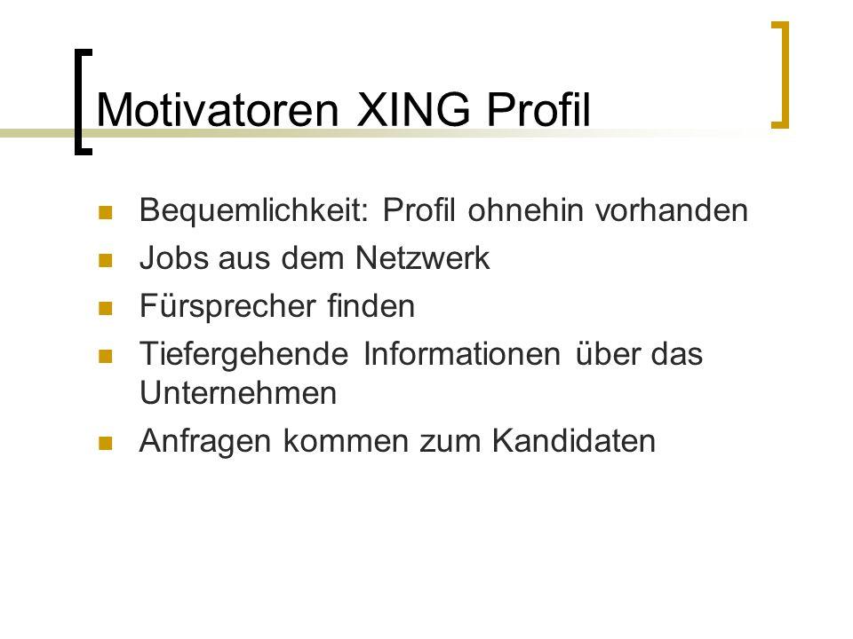 Motivatoren XING Profil Bequemlichkeit: Profil ohnehin vorhanden Jobs aus dem Netzwerk Fürsprecher finden Tiefergehende Informationen über das Unterne
