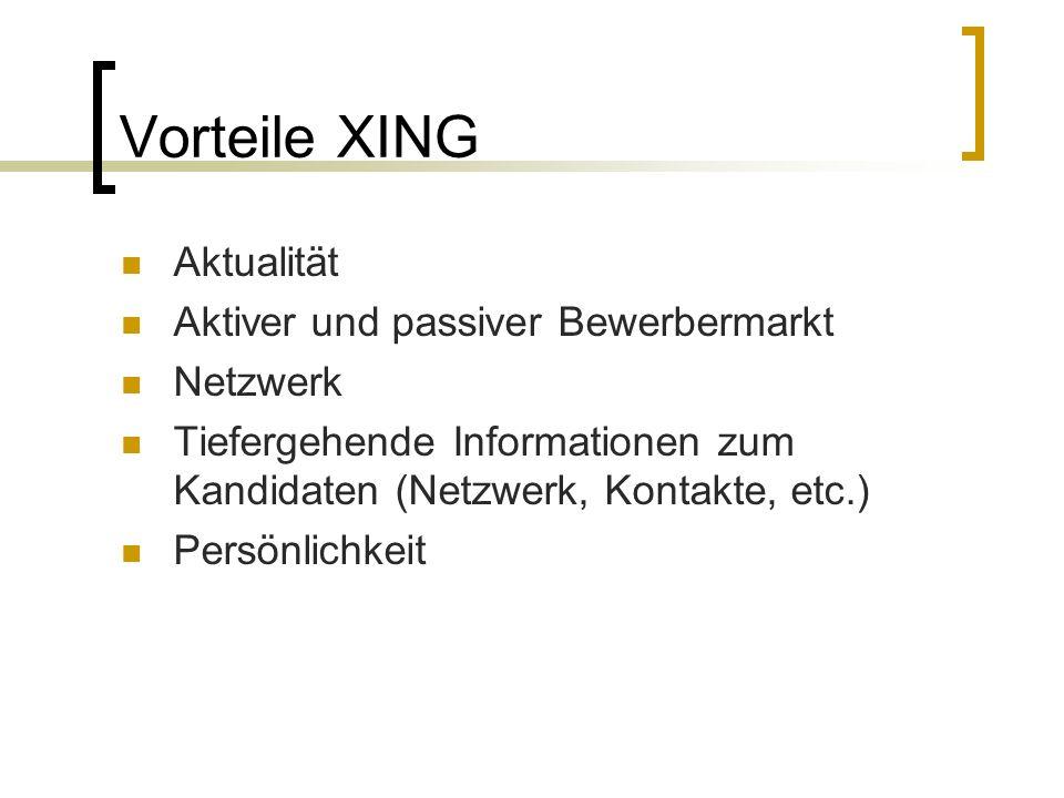 Vorteile XING Aktualität Aktiver und passiver Bewerbermarkt Netzwerk Tiefergehende Informationen zum Kandidaten (Netzwerk, Kontakte, etc.) Persönlichkeit