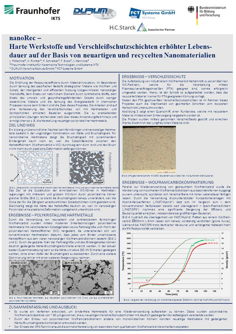 s0 nanoRec – Harte Werkstoffe und Verschleißschutzschichten erhöhter Lebens- dauer auf der Basis von neuartigen und recycelten Nanomaterialien J.