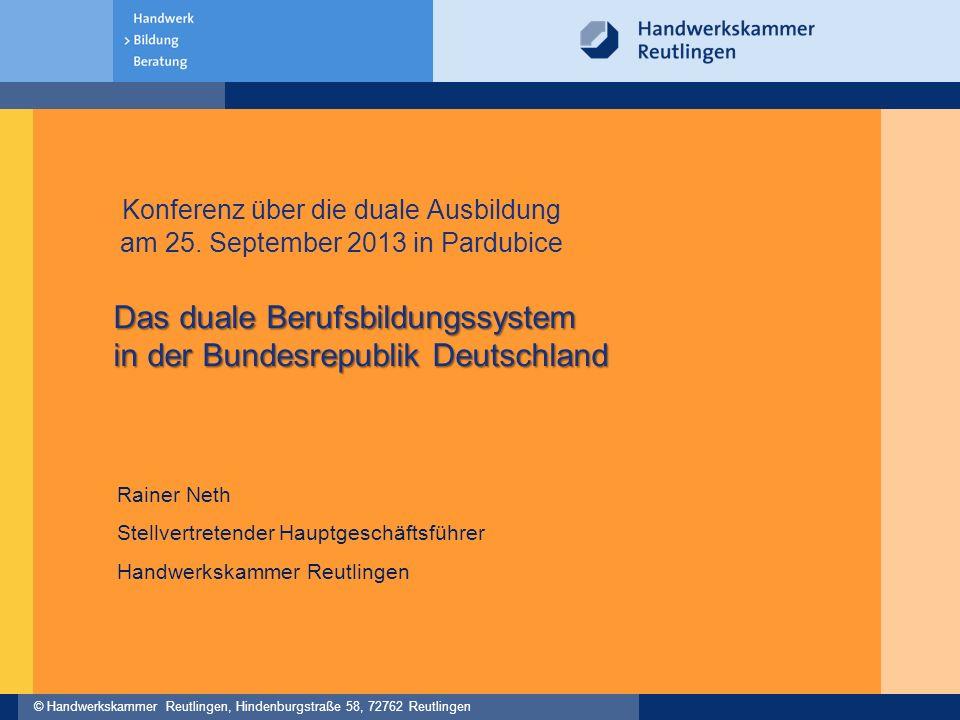 © Handwerkskammer Reutlingen, Hindenburgstraße 58, 72762 Reutlingen Das duale Berufsbildungssystem in der Bundesrepublik Deutschland Konferenz über die duale Ausbildung am 25.