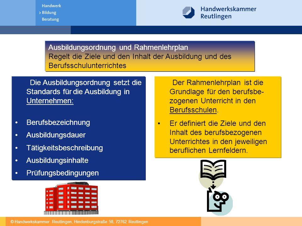 © Handwerkskammer Reutlingen, Hindenburgstraße 58, 72762 Reutlingen Die Ausbildungsordnung setzt die Standards für die Ausbildung in Unternehmen: Beru
