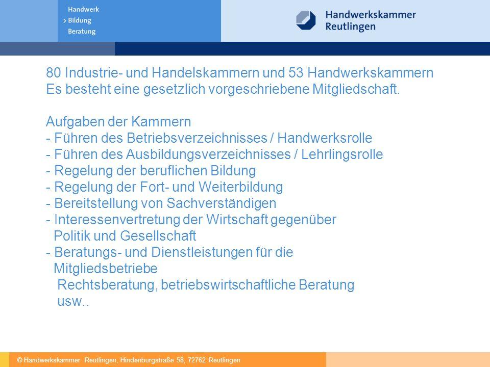 © Handwerkskammer Reutlingen, Hindenburgstraße 58, 72762 Reutlingen 80 Industrie- und Handelskammern und 53 Handwerkskammern Es besteht eine gesetzlich vorgeschriebene Mitgliedschaft.