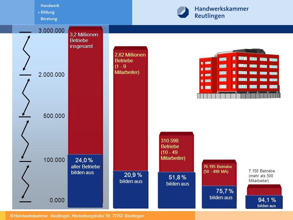 © Handwerkskammer Reutlingen, Hindenburgstraße 58, 72762 Reutlingen 0.000 100.000 500.000 3.000.000 3,2 Millionen Betriebe insgesamt 2,82 Millionen Betriebe (1 - 9 Mitarbeiter) 310.598 Betriebe (10 - 49 Mitarbeiter) 2 20,9 % bilden aus 24,0 % aller Betriebe bilden aus 51,8 % bilden aus 76.195 Betriebe (50 - 499 MA) 75,7 % bilden aus 7.150 Betriebe (mehr als 500 Mitarbeiter) 94,1 % bilden aus 2.000.000