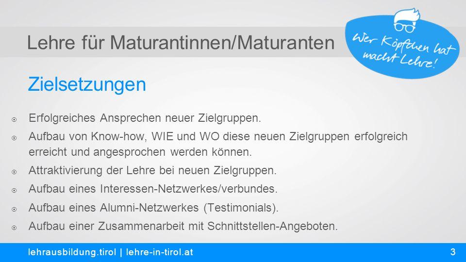 Lehre für Maturantinnen/Maturanten lehrausbildung.tirol | lehre-in-tirol.at 3 Zielsetzungen  Erfolgreiches Ansprechen neuer Zielgruppen.