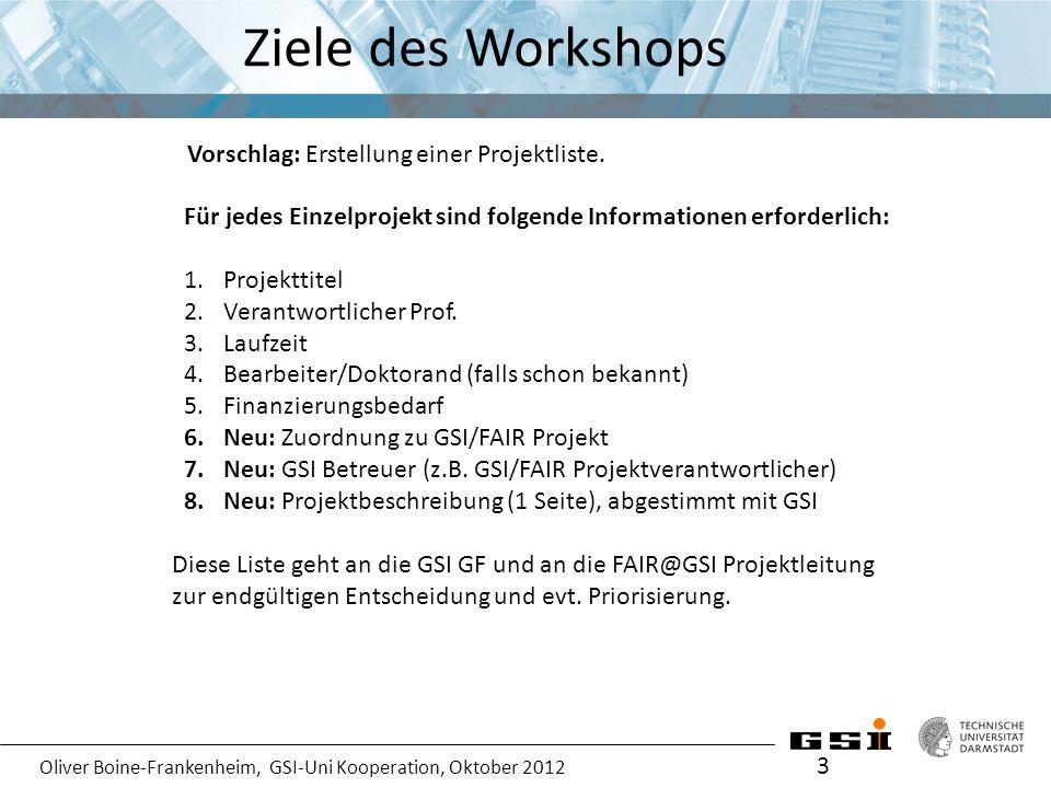 Oliver Boine-Frankenheim, GSI-Uni Kooperation, Oktober 2012 Ziele des Workshops 3 Für jedes Einzelprojekt sind folgende Informationen erforderlich: 1.