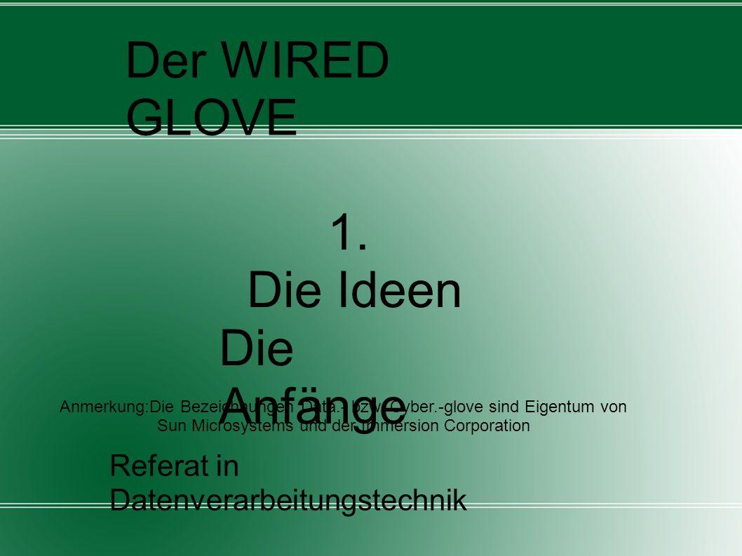 Referat in Datenverarbeitungstechnik von Dirk Hofmann (März/2009) Der WIRED GLOVE 1. Die Ideen Die Anfänge Anmerkung:Die Bezeichnungen Data.- bzw. Cyb