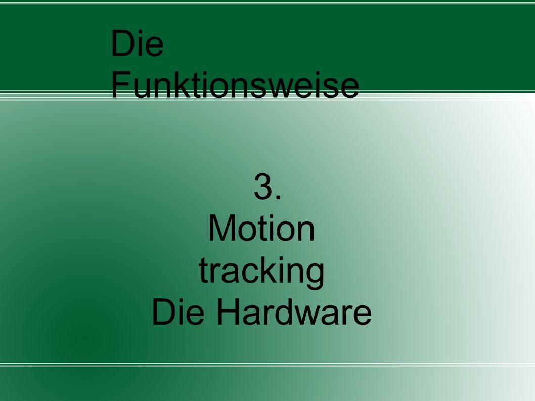 Motion tracking (Bewegungserfassung) Die genaue Bestimmung der Position und Ausrichtung eines frei positionierbaren & beweglichen Objektes oder Person zu einem festen Bezugspunkt oder innerhalb eines festgelegten Bereiches