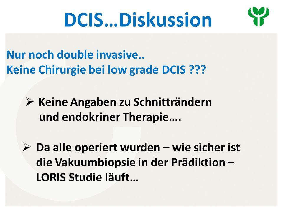 DCIS…Diskussion Nur noch double invasive.. Keine Chirurgie bei low grade DCIS .