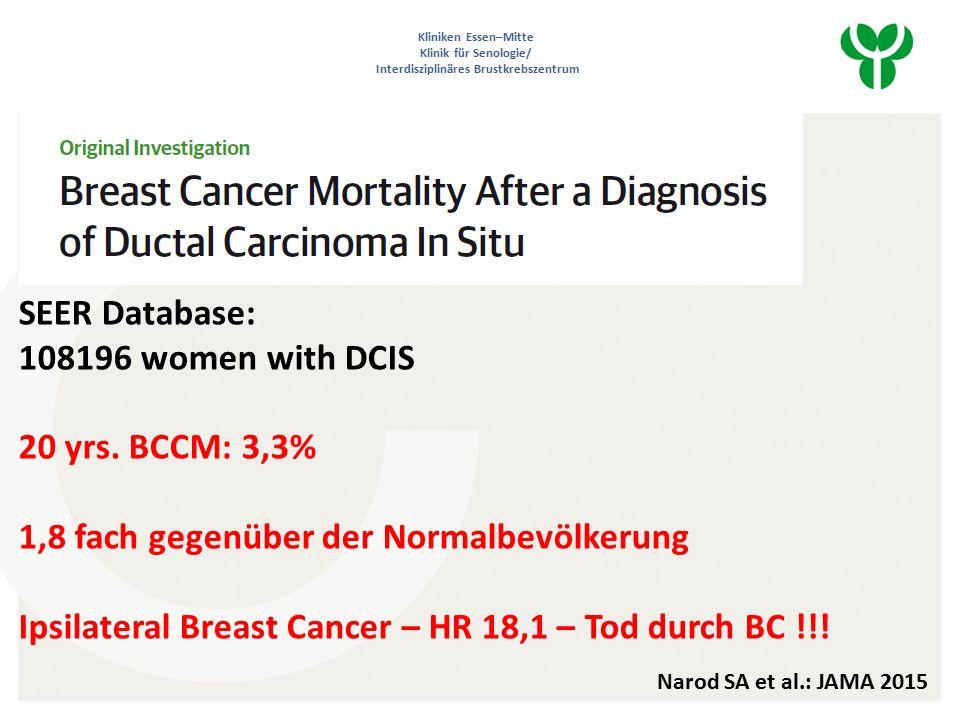 Kliniken Essen–Mitte Klinik für Senologie/ Interdisziplinäres Brustkrebszentrum SEER Database: 108196 women with DCIS 20 yrs.
