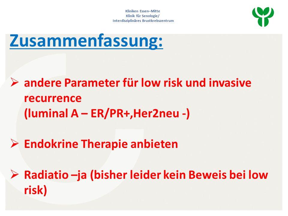Kliniken Essen–Mitte Klinik für Senologie/ Interdisziplinäres Brustkrebszentrum Zusammenfassung:  andere Parameter für low risk und invasive recurrence (luminal A – ER/PR+,Her2neu -)  Endokrine Therapie anbieten  Radiatio –ja (bisher leider kein Beweis bei low risk)