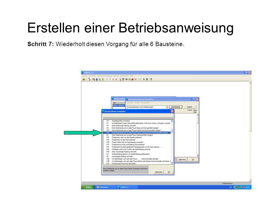 """Erstellen einer Betriebsanweisung Schritt 8: Die fertige Betriebsanweisung wird dargestellt, indem Ihr die Schaltfläche """"Anzeigen wählt."""