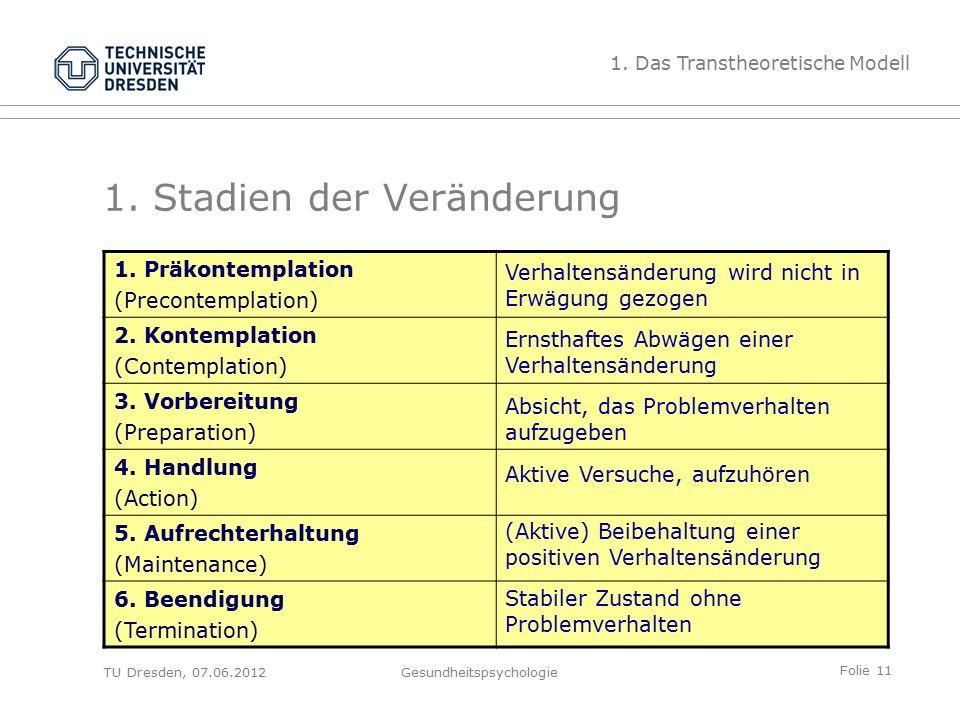 Folie 11 TU Dresden, 07.06.2012Gesundheitspsychologie 1.