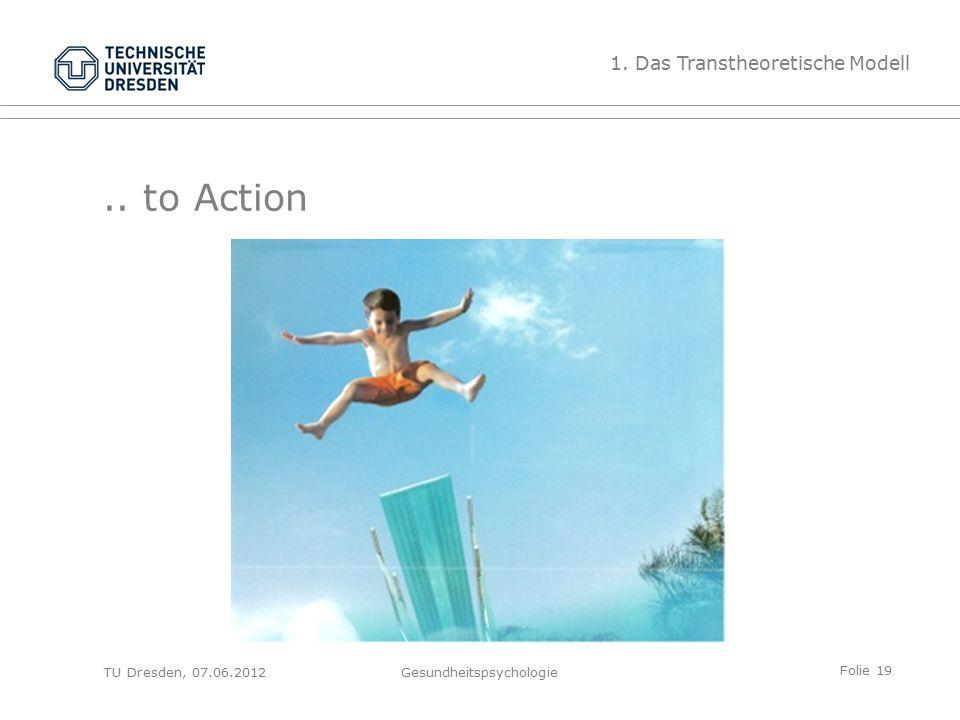 Folie 19 TU Dresden, 07.06.2012Gesundheitspsychologie.. to Action 1. Das Transtheoretische Modell