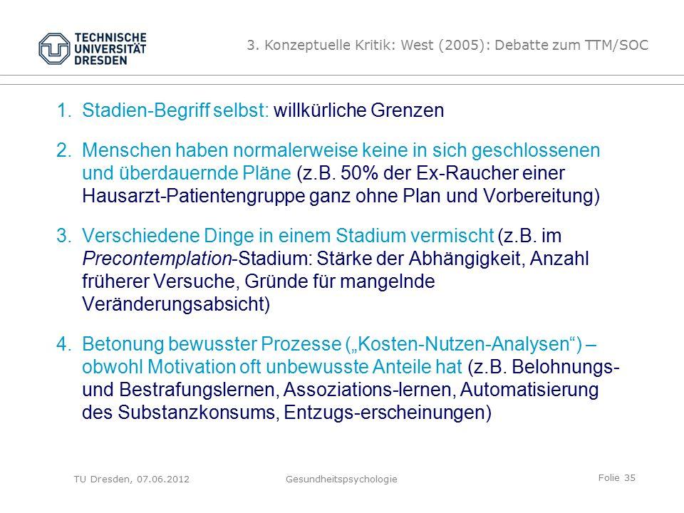 Folie 35 TU Dresden, 07.06.2012Gesundheitspsychologie 1.Stadien-Begriff selbst: willkürliche Grenzen 2.Menschen haben normalerweise keine in sich geschlossenen und überdauernde Pläne (z.B.