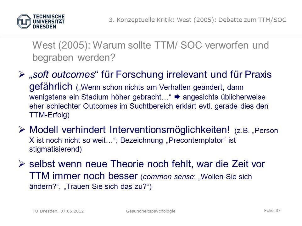 Folie 37 West (2005): Warum sollte TTM/ SOC verworfen und begraben werden.