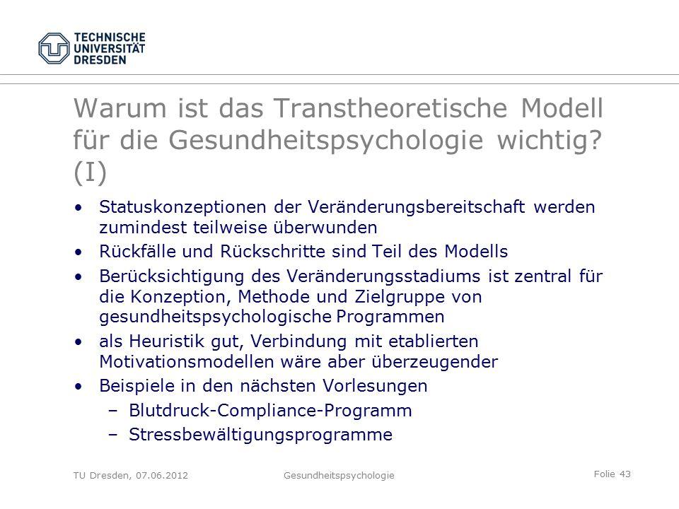 Folie 43 TU Dresden, 07.06.2012Gesundheitspsychologie Warum ist das Transtheoretische Modell für die Gesundheitspsychologie wichtig.