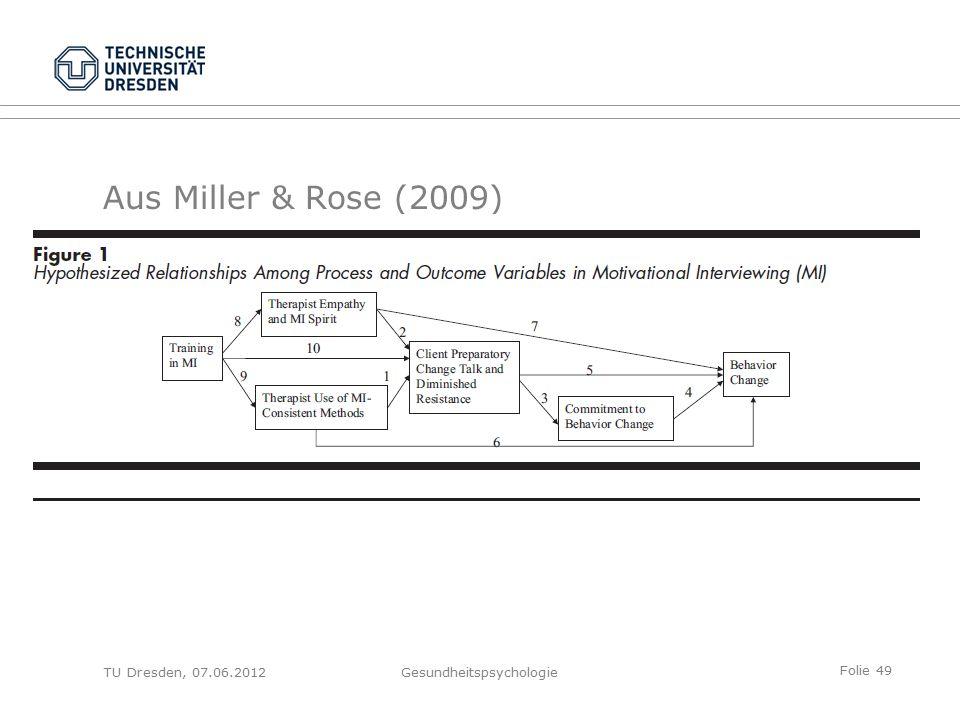 Folie 49 Aus Miller & Rose (2009) TU Dresden, 07.06.2012Gesundheitspsychologie
