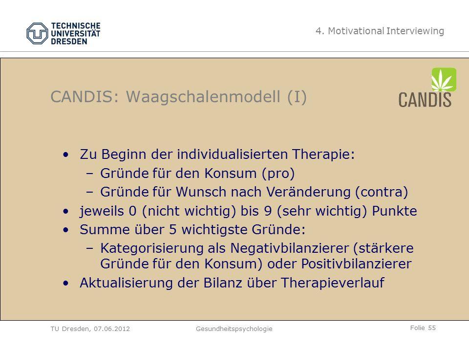 Folie 55 TU Dresden, 07.06.2012Gesundheitspsychologie CANDIS: Waagschalenmodell (I) 4.