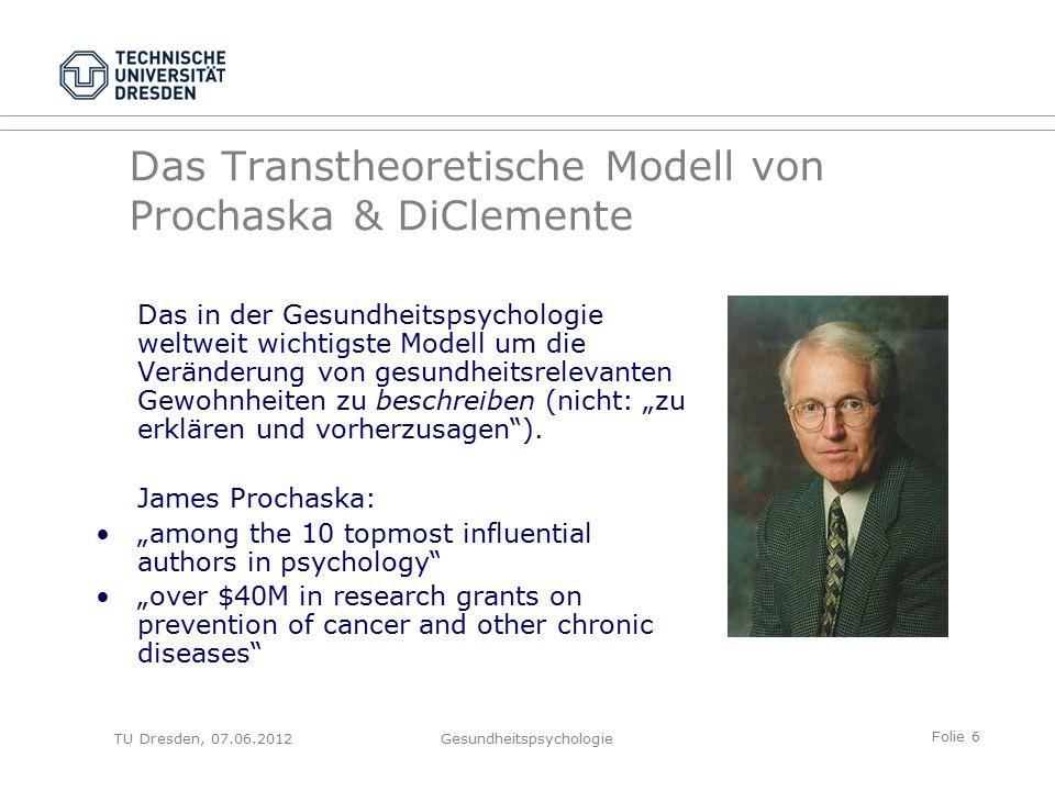 """Folie 7 TU Dresden, 07.06.2012Gesundheitspsychologie Warum """"Transtheoretisches Modell."""