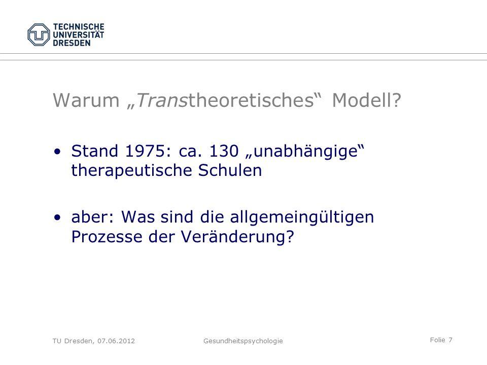 Folie 18 TU Dresden, 07.06.2012Gesundheitspsychologie From Contemplation..