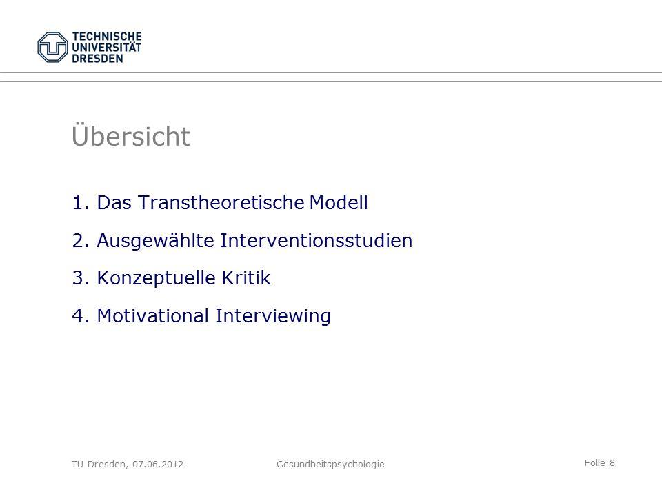 Folie 9 TU Dresden, 07.06.2012Gesundheitspsychologie Veränderungsbereiche: Prinzipiell alle Problem- bzw.