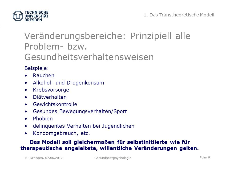 Folie 30 TU Dresden, 07.06.2012Gesundheitspsychologie Abnehmen (Prochaska, DiClemente & Norcross, 1992) A longitudinal comparison of stages of change scores for clients before (Week 1) and midway trough (Week 5) a behavioral program for weight reduction (N = 53): 2.